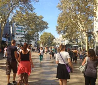 sur les Ramblas de Barcelone